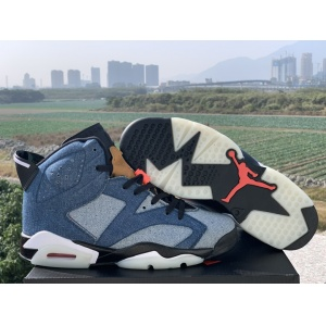 2020 Cheap Air Jordan 6 High Washed Denim Sneakers  in 216583