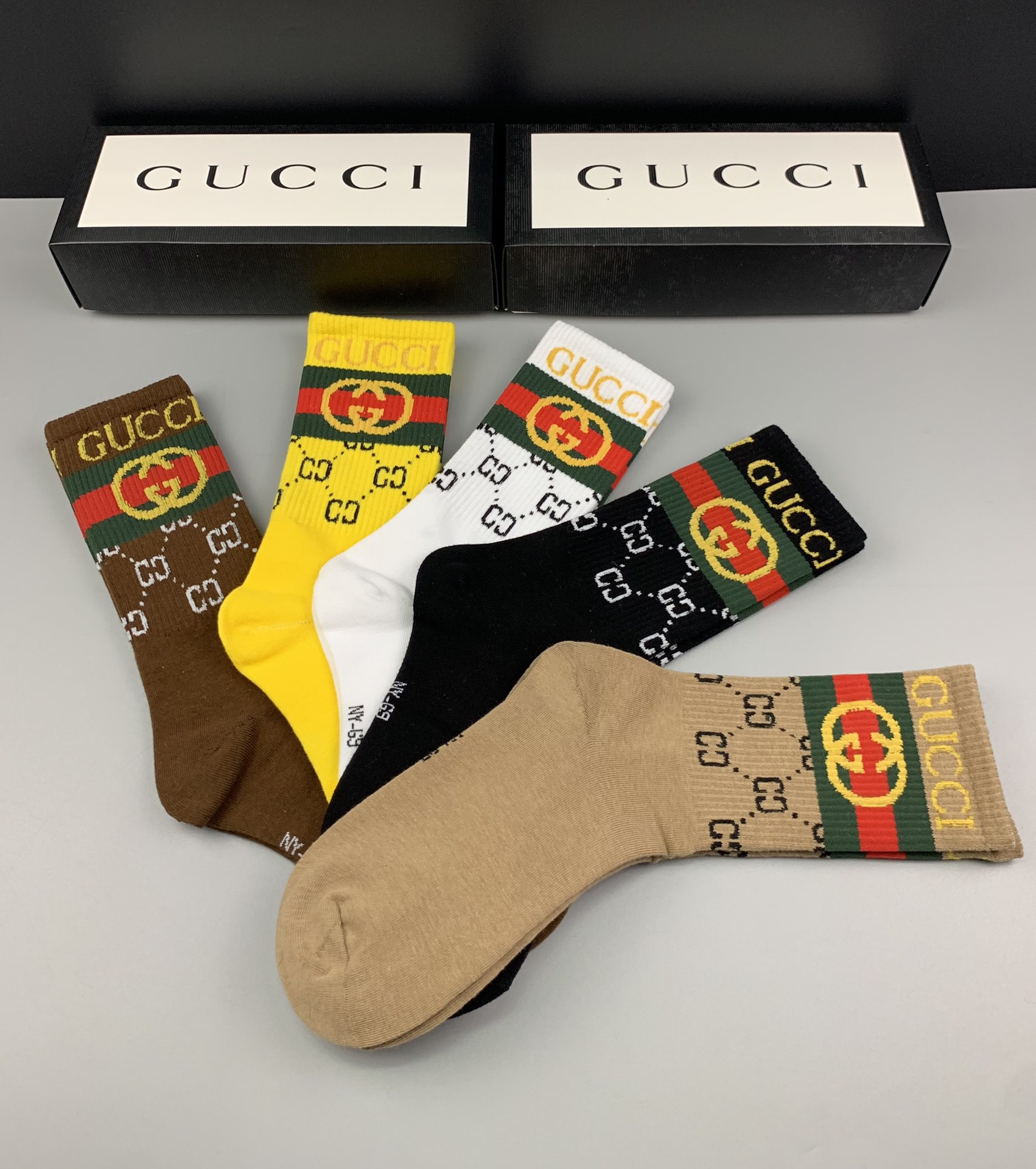 Gucci Logo Cotton Socks Set 5 Pairs # 233512, cheap Socks, only $35!